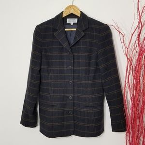Jacob | Vintage Plaid Button Front Blazer Wool Sz8